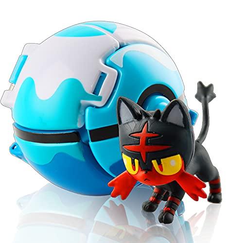 Esportic Poké Bolas Pokéball, Ball figuritas Poké Bolas Pokéball, Poké Bolas, Bola de Pokémon con Pokemon y Pokemon con Figuras Pokemon Toys para niños, Pokémon (Fire Spot Meow)