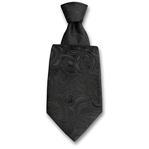 Robert Charles. Cravate. Victoria, Soie. Noir, Fantaisie. Fabriqué en Italie.