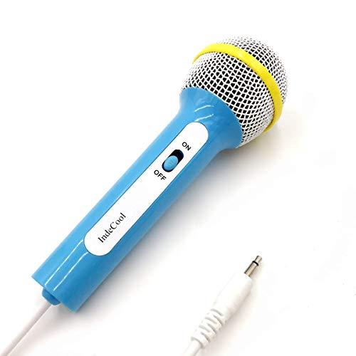 IndeCool Kids Wired Dynamic Karaoke Microphone, Professional Handheld Microphone Compatible with Kids Karaoke Music Machine Toy (Blue, 3.5mm Plug)