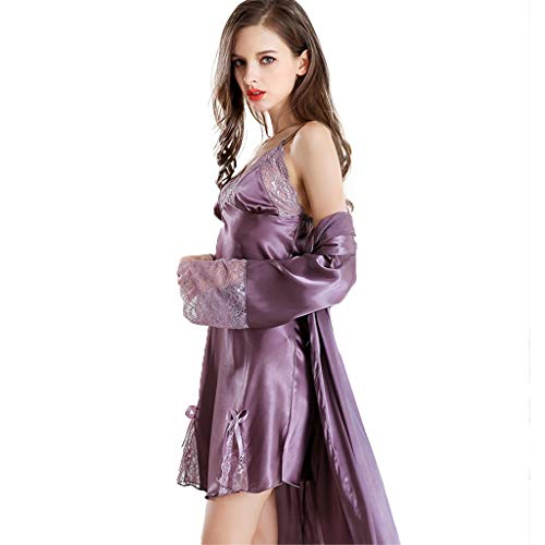 Women Lingerie Robe Silk Satin Lace Sexy Kimono Robes Badjas Dames Badjas, Nightgown Zomer Jarretel Rokje Pyjama Badjas Bruidsmeisje Robes (Color : Purple, Size : XL)