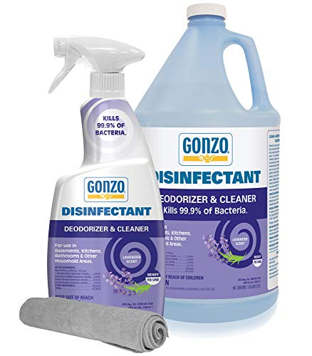 Gonzo Disinfectant Spray & Multipurpose Cleaner with Cloth - Lavender Value Pack 24 oz. and 128 oz. Refill - Odor Eliminator, Disinfectant, Flood Fire Water Damage Restoration