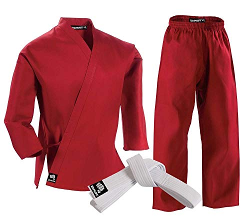 Zephyr Martial Arts Karate Gi Student Uniform with Belt - Red - 2