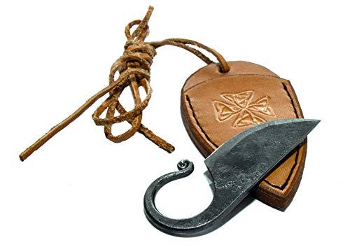 Keltisches Taschenmesser Toferner Handgeschmiedetes Federstahl Messer im keltischen Stil - mit Echtledertasche