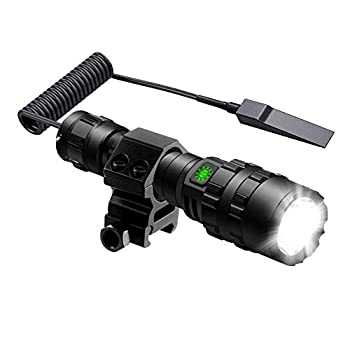POVAST Tactical Flashlight with Mount Pressure Switch for Weaver Picatinny Rail 5 Modes Weapon Light Rechargeable Battery Included