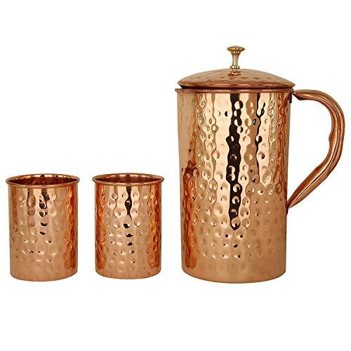Jarra de cobre Ayurveda de arte moderno con 2 vasos (1500 ML, cobre puro) Certificado de pureza de cobre Probado en laboratorio.