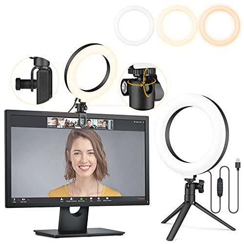 6' Ring Light Clip On, Video Conference Lighting, Laptop Light for Computer, Webcam Lighting, Zoom,...