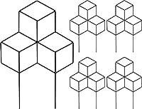 ガーデンフェンス アイアンフェンス ミニフェンス 5枚セット ブラック 黒 高さ45 おしゃれ モダン アート調 オブジェ ミッドセンチュリー (5枚組)