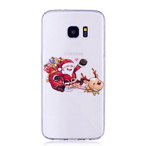 Funda Samsung Galaxy S7Edge Silicona Suave TPU Navidad Serie súper Ligero Delgado Alta Transparencia Carcasa de telefono Case Cover DECHYI