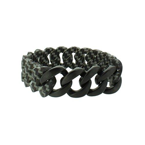 Hanse-Klunker Armband Herren ORIGINAL Silikon Muster Carbon Style, Edelstahl Schwarz Matt Männer Jungen inkl. Schmuck-Geschenk-Box