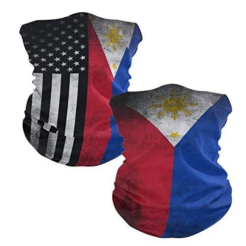 2Pcs USA Philippines Flag Face Scarf Magic Tube...