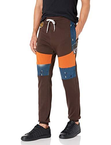 Southpole Men's Tootsie Collection Fashion Fleece Jogger Pants, Brown Denim Patch, Medium