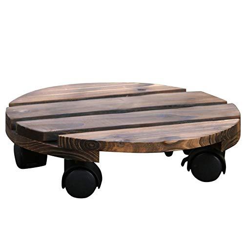 EUBEISAQI - Soporte para plantas de madera con ruedas de 25 cm para interiores y exteriores, con ruedas giratorias de 360 °