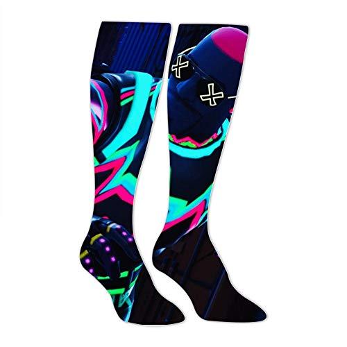 PIHJE Socks Long 50cm Fluorescent_Fortnite Skin Fashion High Socks for Women & Men Novelty Knee High Thigh Stockings Length 19.7Inch