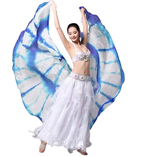NANXCYR Vlinder Vleugels Buik Dans Vleugels Hoogwaardig Pure Zijde Kleur Prestatie Dans Props voor Vrouwen, Fairy Dames Cape Nymph Pixie Kostuum Accessoire