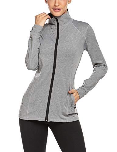 Damen Laufjacke Mesh Sweatshirt mit Reißverschluss Atmungsaktive Sportjacke Langarm Yoga Fitness Shirt Schnell Trocknend Sportwear Bomberjacke Trainingsjacke für Mädchen