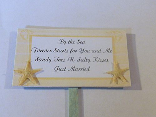 Wedding Reception Beach Sandy Toes -n- Salty Kisses Starfish Sign Cake Topper