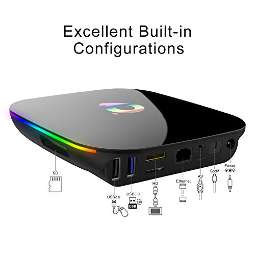 Q Plus Android 9.0 TV Box, Allwinner H6 Quad-Core 64bit ARM Corter-A53 CPU 4GB RAM 32GB RAM Mali T720-GPU unterstützt 2.4GHz WiFi mit 4K 6K Auflösung und 100M LAN Enternet Smart Android Box