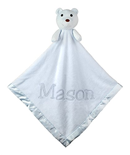 Custom Catch Personalized Teddy Bear Baby Blanket Gift for Boy - Blue