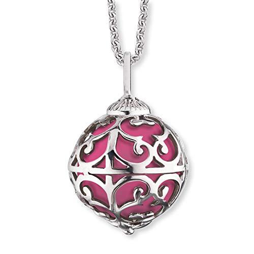 Herzengel Engelsrufer - Halskette mit rosa Klangkugel Anhänger für Kinder, Mädchen aus 925 Sterlingsilber, Silber Kinderschmuck Kugelanhänger mit Klangkugeln aus Zirkonia