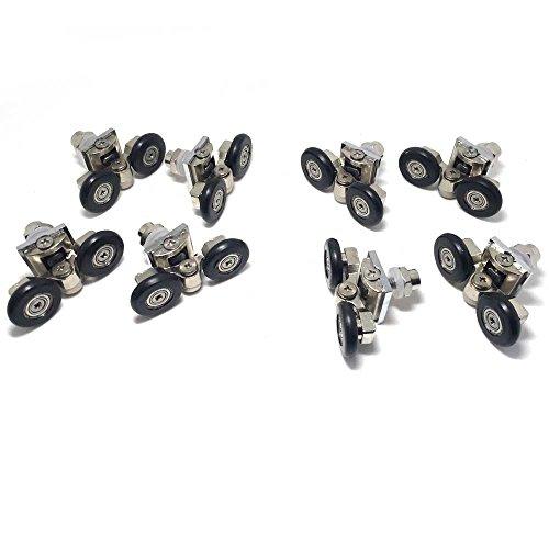 Lot de 8roulettes pour porte de douche simple/glissières/roues/poulies Diamètre 25mm Pièces de rechange en alliage de zinc