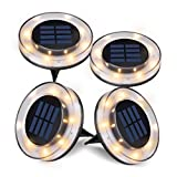 StarGinz Solar Ground Lights, Solar Disk Lights Waterproof Outdoor, Garden Lights for Patio Pathway In-Ground - Warm White(4 Pack)