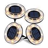 Solar Ground Lights,Newest Design Solar Disk Lights Outdoor, Waterproof Patio Garden Pathway In-Ground Lights - Warm White(4 Pack)