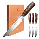 TUO Steak Knife Set of 4, Serrated Steak Knife 5 Inch Sharp Table Knives Durable Dinner Knife Boxed Set, Forged German Stainless Steel Full Tang Pakkawood Handle, Fiery Phoenix Series with Gift Box