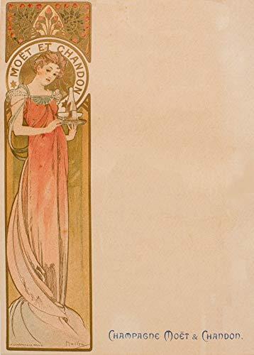 Vintage bieren, wijnen en sterke drank 'Moet and Chandon' door Alphonse Mucha, 1897, 250gsm Zacht-Satijn Laagglans Reproductie A3 Poster