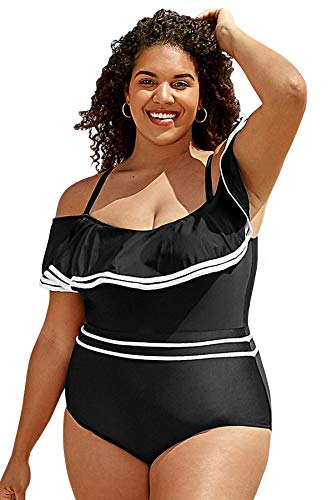 CUPSHE Women's White Trimmed Ruffles Off Shoulder Plus Size One Piece Swimsuit, 1X