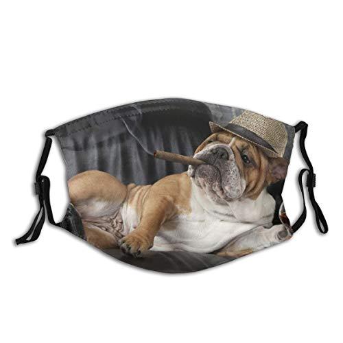 AIMILUX Gesichtsbedeckung,Humorvolle englische Bulldogge,die in einem schwarzen Ledersessel mit Einer Zigarre und einem Glas Cognac ruht,Winddicht Staubschutz Mund Bandanas Gamasche Mit 2 Filtern