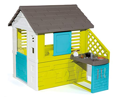 Smoby Pretty House - Children's Playhouse for Indoor and Outdoor Use with Kitchen and Kitchen Toy (17 Pieces), Garden House for Boys and Girls from 2 Years