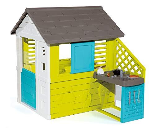 Smoby – Pretty Haus - Spielhaus für Kinder für drinnen und draußen, mit Küche und Küchenspielzeug (17 teilig), Gartenhaus für Jungen und Mädchen ab 2 Jahren