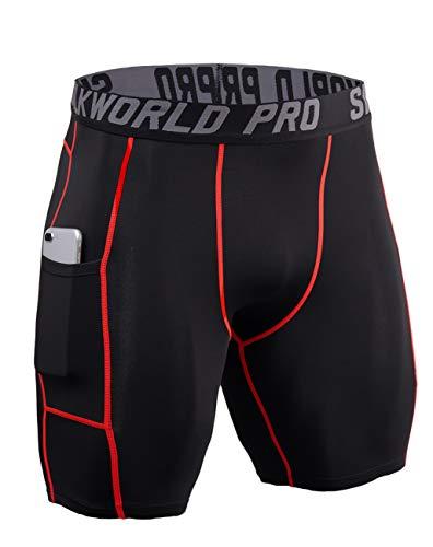 SILKWORLD Men's Compression Shorts Pockets Sports Running Tight (Medium, 0788-Pockets: Black(Red Stripe))