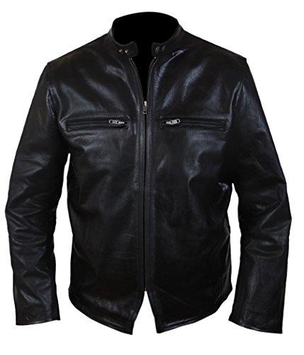 Men, Women Black Jacket Casual Design Café Racer Retro Design Leather Jacket