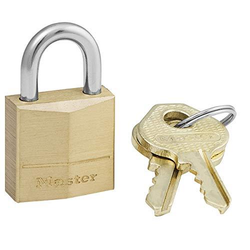 Master Lock 120EURD Klein Schlüssel-Vorhängeschloss aus Massivmessing, Gold, 3,4 x 2 x 1 cm