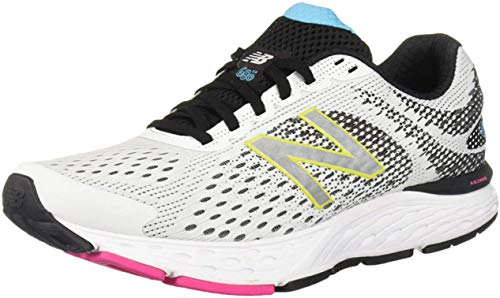 New Balance Women's 680v6 Cushioning Running Shoe, White/Black, 5.5 M US