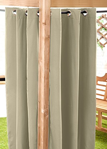 Gardenista Water Resistant Outdoor Eyelet Curtain | Private Areas for Patio, Gazebo or Balcony | Windproof and Sun Protection | Durable and Easy Clean | 55' x 84' (Stone)