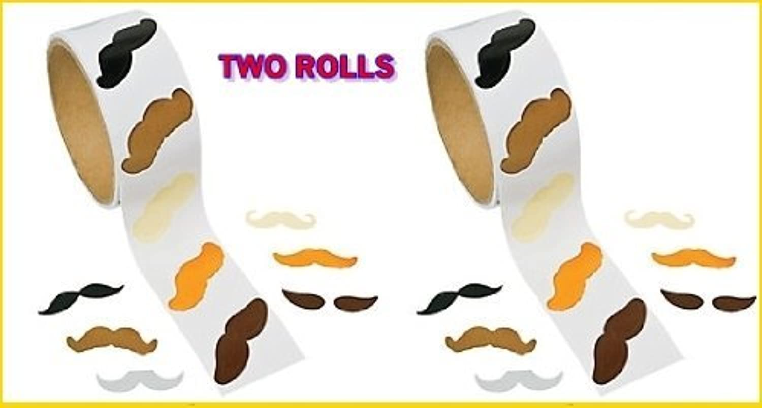 Mustache Stickers - 200 Pc Moustache Party Favor (2 Rolls) by toyco by toyco