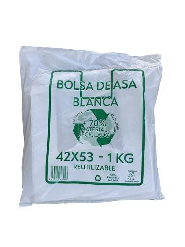 ACESA - Bolsas de Plástico Con Asas Tipo Camiseta Resistentes, Reutilizables y 100% Bolsa Reciclable,70% Recicladas, paquete de 1Kg (BLANCO)