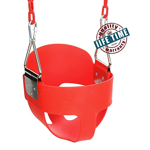ANCHEER Toddler Swing Seat High Back Full Bucket Swing Seat with 60-inch Coated Chain and Two Snap Hooks –Swing Set Accessories (Blue)