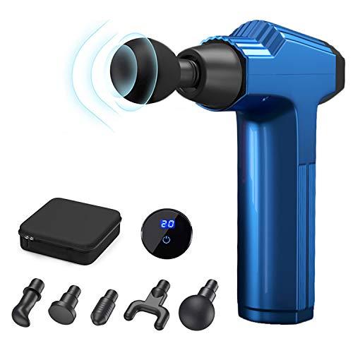 Massagepistole für Muskelmassage, 20 Geschwindigkeitsstufen, sehr leise, tragbar, elektrisch, mit LCD-Touchscreen und 5 Aufsätzen