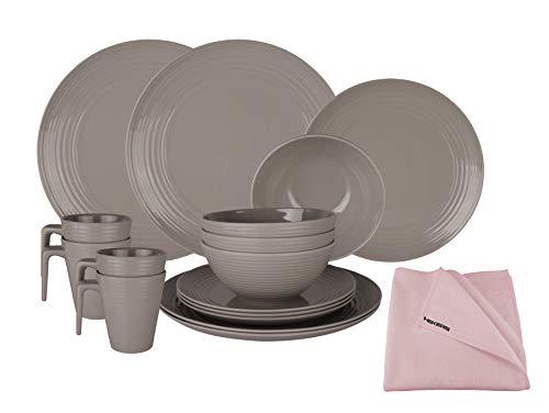 HEKERS Vajilla de 100% melamina Seramika Latte/Gris – Juego de 16 piezas para 4 personas / 1 x paño de microfibra HEKERS Rosa Outdoor Picnic Camping apto para lavavajillas