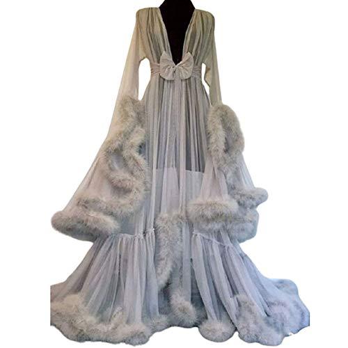 ZZYYLL Women Sexy Feather Perspective Robe Nightgown Sleepwear Lace Bridal Kimono Flared Sleeves,Gray
