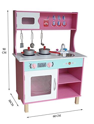 Kiddi Style Große moderne Kinderküche & Spielküche in Pastellfarben – Puppenküche aus Holz