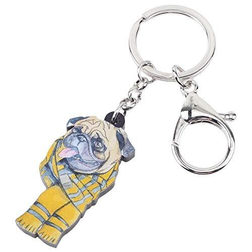 DdA8yonH Sleutelhanger Acryl Cartoon Sjaal Bulldog Pug Hond Sleutelhanger Dierlijke Sieraden Voor Vrouwen Meisje Dames Handtas Auto Bedels