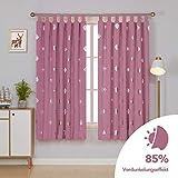 Deconovo Quadrat Muschel Blickdichte Gardinen Schlaufen Kinderzimmer mädchen 175x140 cm Pink 2er Set