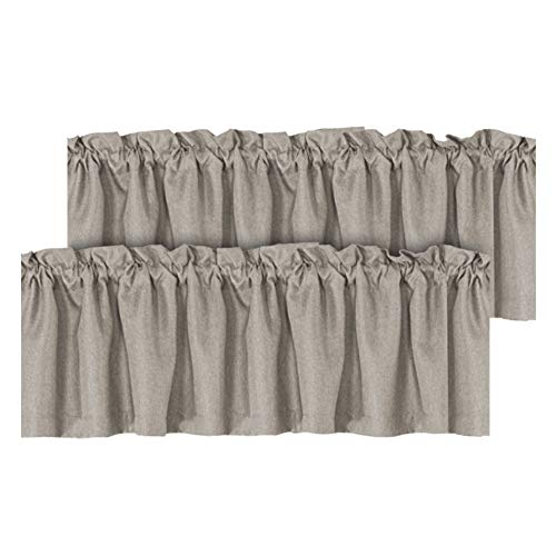 H.VERSAILTEX Blackout Linen Curtain Valances for Kitchen/Bathroom/Laundry - (2 Panels) Thermal Insulated Window Valances for Living Room/Bedroom Rod Pocket Casual Curtain 52x18 inch, Taupe