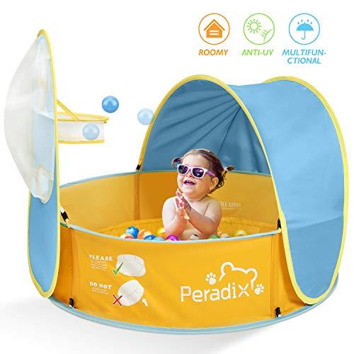 Peradix Tienda Playa Bebe y Tienda de Campaña para Piscina de Bolas para Niños con toldo,Pop-up Tienda Plegable de Bebé con Piscina con Caja de Tiro, La Mejor Cuna para Siesta para los bebés.