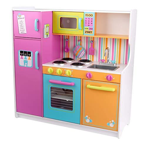 KidKraft 53100 Cucina giocattolo in legno per bambini Deluxe Big and Bright con telefonino e accessori di gioco inclusi-Colori vivaci, Multicolore