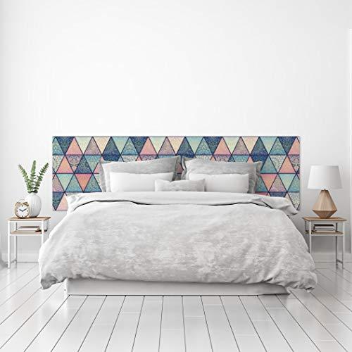 MEGADECOR Cabecero Cama PVC Decorativo Económico Diseño Geométrico de Triángulos Estampados Varias Medidas (150 cm x 60 cm)